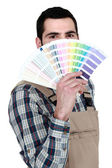 Decorator with a color chart — Stock Photo