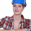 Foto Stock: Female construction worker