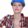Happy female construction worker — Stock Photo