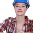 Stock Photo: Happy female construction worker