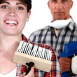 Laughing decorator — Stock Photo
