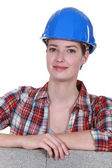 Female construction worker — Foto Stock