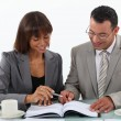 Stock Photo: Man and woman studying a book together