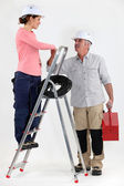 Electrician welcoming helper — Stock Photo