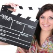 Womwith movie slate — Stock Photo #16010933