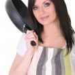 Brunette with frying pan — Stock Photo #16011317