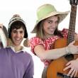 Two with acoustic instruments - Stock Photo