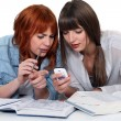 Girls looking at a cellphone while doing their homework — Stock Photo