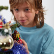 Boy with a Christmas Tree — Stock Photo