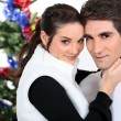 Couple celebrating Christmas — Foto de Stock