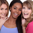 Three happy female friends — Stock Photo