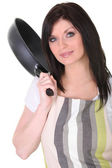 Brunette with frying pan — Stock Photo