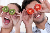 Couple making funny faces — Stock Photo