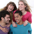 Group of teenagers laughing — Stock Photo