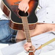 Stock Photo: Landscape picture of mwith guitar