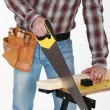 Closeup on tradesman handling saw — Stock Photo
