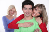 Woman jealous of couple — Foto Stock