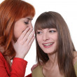 Stock Photo: Young womwhispering secret into her friend