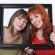 Women posed in a frame — Stock Photo