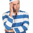 Man in convict costume — Stock Photo