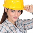 Foto Stock: Female builder