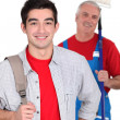 Portrait of an apprentice posing with his new boss — Stock Photo