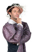 Man in tudor fancy dress kostuum — Stockfoto