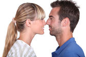 Couple rubbing noses — Stock Photo