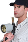 Man with blowtorch — Stock Photo