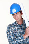 Operator with paper roll over the shoulder — Stock Photo