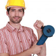 Man holding angle-grinder — Stock Photo #16084593