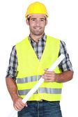 Engineer in a reflective vest — Stock Photo