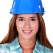 Portrait of young girl with blue helmet — Stock Photo #16136639