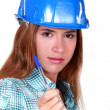 Woman in a hardhat with a clipboard — Stock Photo #16138201