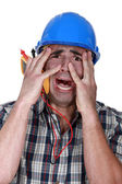 Electrician terrified — Stock Photo