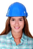 Portrait of young girl with blue helmet — Stock Photo