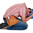 Tradesman grieving — Stock Photo
