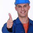 Plumber the giving the go-ahead — Stock Photo