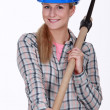 Stock Photo: Womwith pickaxe