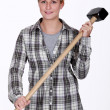Tradeswomholding mallet — Stock Photo #16161751