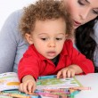 Little boy colouring book — Stock Photo