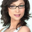 Foto Stock: Brunette in trendy glasses
