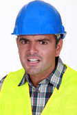 Terrified foreman — Stock Photo