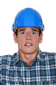 Worried construction worker — Stock Photo
