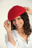 Woman with a red beret — Stock Photo