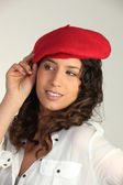 Brunette wearing red beret — Stock Photo