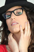 Attractive woman in geeky glasses — Stock Photo
