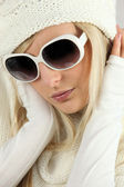 Blonde heiress wearing glasses — Stock Photo