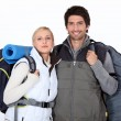 Stock Photo: Couple on a hiking trip
