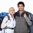 Couple on a hiking trip — Stock Photo